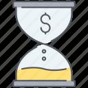 money, sandclock, deadline, end, finance, finish, time icon