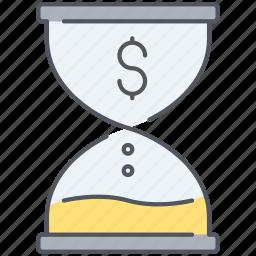 deadline, end, finance, finish, money, sandclock, time icon