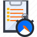 alarm, checklist, list, stopwatch, task, time, timer icon
