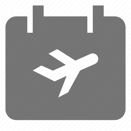 airplane, calendar icon