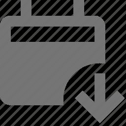 arrow, calendar, down, download icon