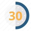 half, minutes, time, timer icon