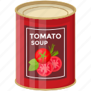 canned food, condensed tomato, organic food, preserved food, tin pack, tomato soup icon