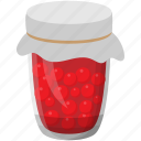 fruit with syrup, pickled raspberry, preserved food, preserved fruit, raspberry jar icon