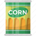 preserved corns, corn seed, canned food, sweet corns, healthy diet icon