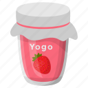 flavoured yogurt, healthy diet, homemade food, preserved yogurt, strawberry yogurt icon