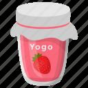 flavoured yogurt, healthy diet, homemade food, preserved yogurt, strawberry yogurt