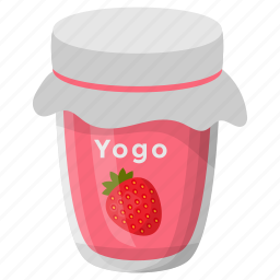 flavoured yogurt, healthy diet, homemade food, preserved yogurt, strawberry yogurt icon