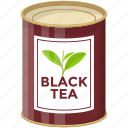 black tea tin, breakfast tea, canned food, flavoured tea, hot beverage icon
