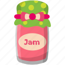 jam jar, sweet food, strawberry jam, strawberry confiture, condensed food icon