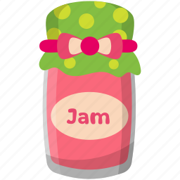 condensed food, jam jar, strawberry confiture, strawberry jam, sweet food icon
