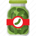 vegetable, canned goods, grocery storage, preserved food, cucumber pickle icon