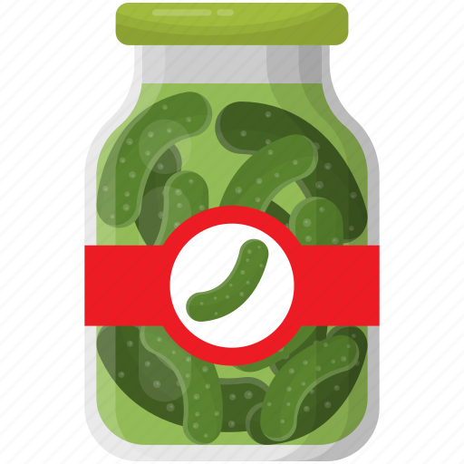 canned goods, cucumber pickle, grocery storage, preserved food, vegetable icon