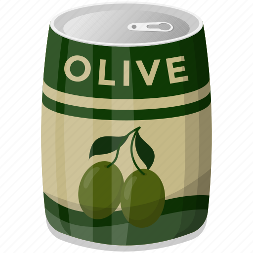 canned olive, healthy diet, olive container, olive tin, preserved food icon