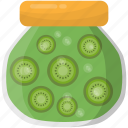 kiwi fruit, kiwi jam, kiwi jar, preserved food, preserved fruit icon