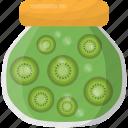 kiwi fruit, kiwi jam, kiwi jar, preserved food, preserved fruit