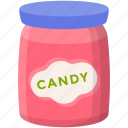 candy jar, confectionery sweets, flavored candy, sugar candies, sweets jar icon