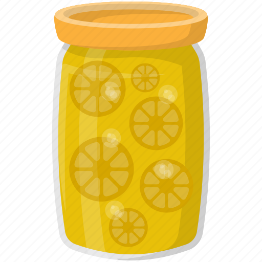 canned food, grocery storage, lemon container, lemon pickles, preserved food icon
