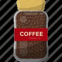 coffee beans, caffeine jar, roasted coffee, coffee seeds, jar food icon