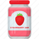 condensed food, fruit marmalade, jam jar, organic food, raspberry jam, strawberry jam icon