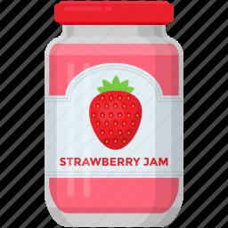 condensed food, fruit marmalade, jam jar, organic food, raspberry jam, strawberry jam icon
