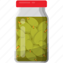 bottle of olive, green olives jar, pickled olive, preserved food, preserved olive icon