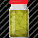bottle of olive, green olives jar, pickled olive, preserved food, preserved olive