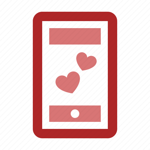 chat, heart, love, mobile, phone, romantic, talk icon