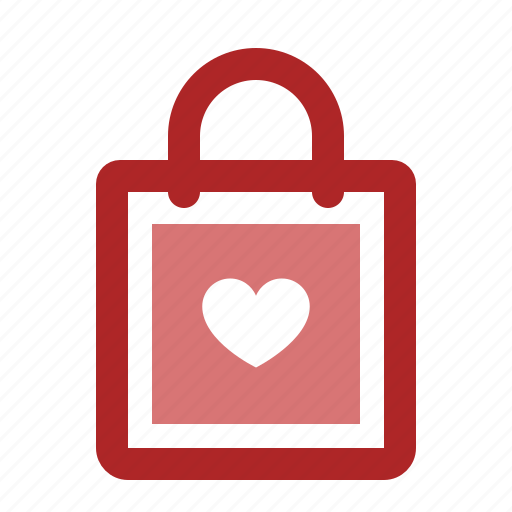 bag, gift, heart, love, present, shop, shopping icon