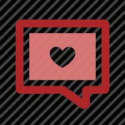 bubble, chat, heart, love, message, romance, talk icon