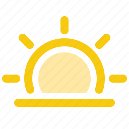 dawn, horizon, morning, sun, sunrise, sunset, weather icon
