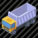 business, car, cartoon, isometric, logo, tipper, unloading
