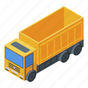 business, car, cartoon, isometric, silhouette, tipper, yellow