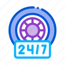 clock, fitting, repair, service, station, tires, wheels icon