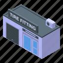 car, cartoon, computer, fitting, isometric, service, tire