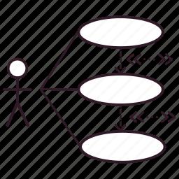 actor, chart, data, diagram, graph, uml, use case icon