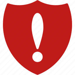 alarm, alert, attention, caution, danger, error, shield problem icon