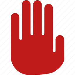cancel, danger, error, forbidden, red hand, stop signal, terminate icon