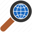 analysis, audit, binoculars, browser, earth, explore, explorer, find, glass, global, globe, look, magnifier, magnify, magnifying, magnifying glass, map, navigation, place, planet, research, scan, search, seo, sphere, tool, travel, view, world, zoom icon