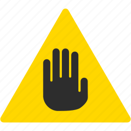 alert, danger, error, exclamation, hand, stop, warning icon