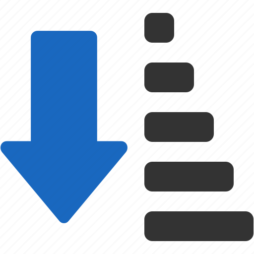 ascending, descending, down, items, list, sort, sorting icon