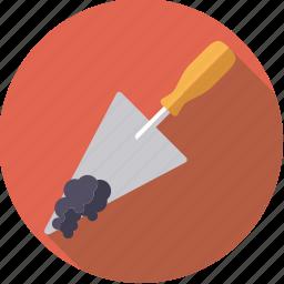diy, mortar, tool, trowel, workshop icon