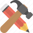 architect tools, construction drawing, construction plan, drawing tools, hammer with pencil icon