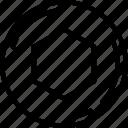 bolt, edges, nut, six, six edges, six edges bolt icon