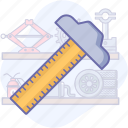 drafting, geometry, ruler, tools icon