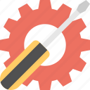 garage tool, gear and screwdriver, hand tools, service tool, setting concept icon