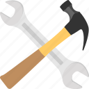construction tool, hammer and spanner, hand tool, maintenance concept, plumbing equipment icon