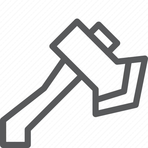 axe, chop, cut, hatchet, metal, tool, weapon, wood icon