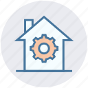 building, construction, gear, home, house, hut, real estate icon