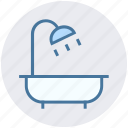 bathtub, construction, restroom, shower, towel, tub, wash bathroom icon